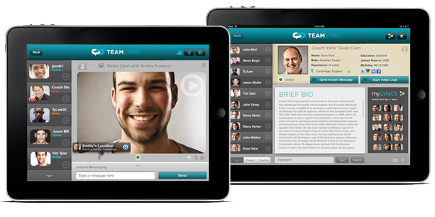 Screenshot of Team Lync App for Players and Coaches on iPad.